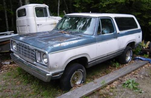 1977 dodge ramcharger removable top auto for sale in central nh. Black Bedroom Furniture Sets. Home Design Ideas