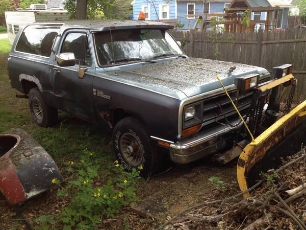 1988 dodge ramcharger plow truck for sale in haverhill ma. Black Bedroom Furniture Sets. Home Design Ideas